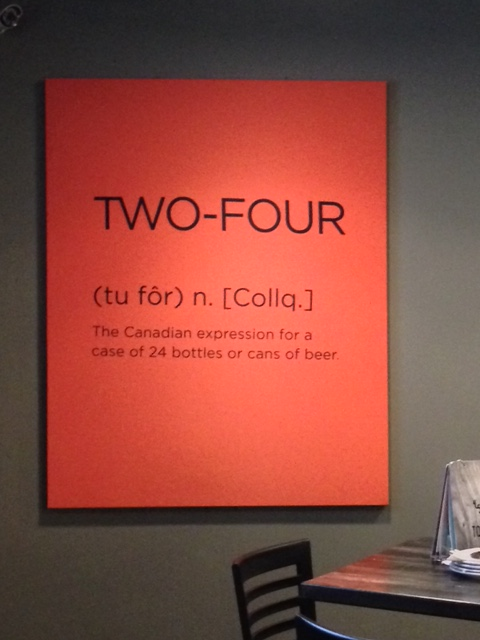 TWO-FOUR - The Canadian expression for a case of 24 bottles or cans of beer
