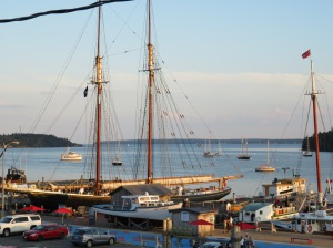 The view from our room in Lunenburg, NS....photo of the Bluenose II (an image of the original Bluenose is on the back of Canada's dime)